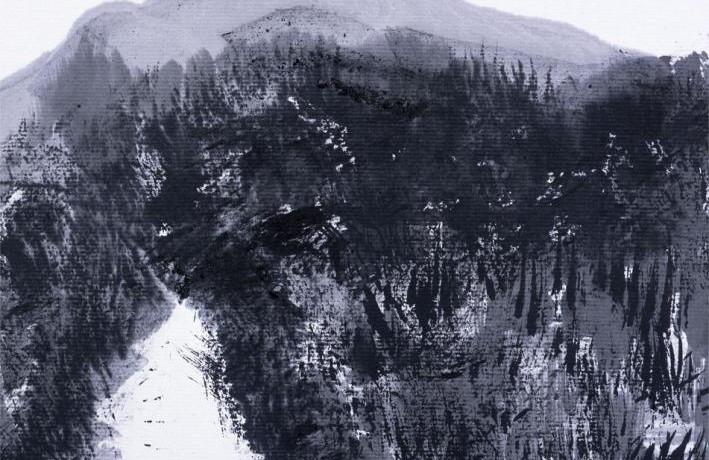雪道の彼方にある横磐梯デフォルメD