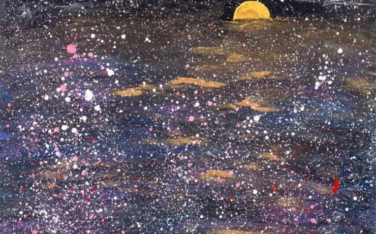 金色の月夜に雪が降る