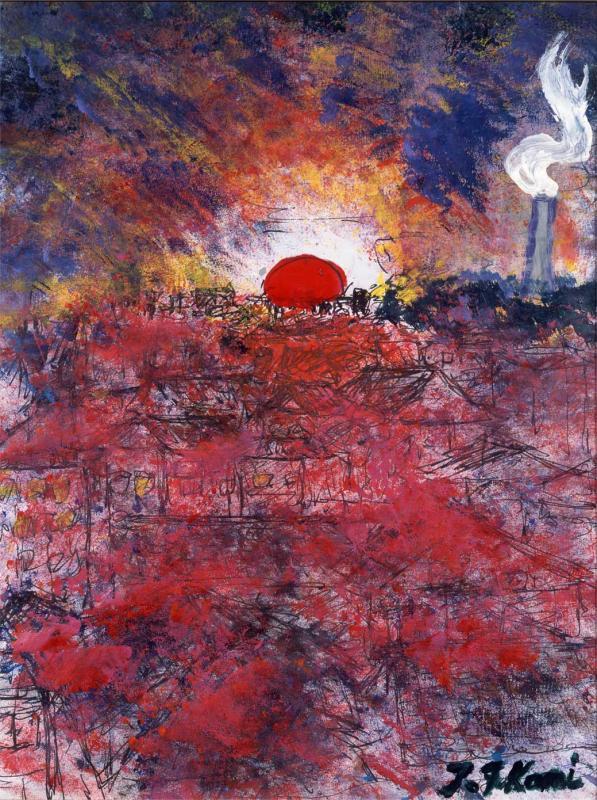 あたりを真っ赤に染める西荻窪の日の出