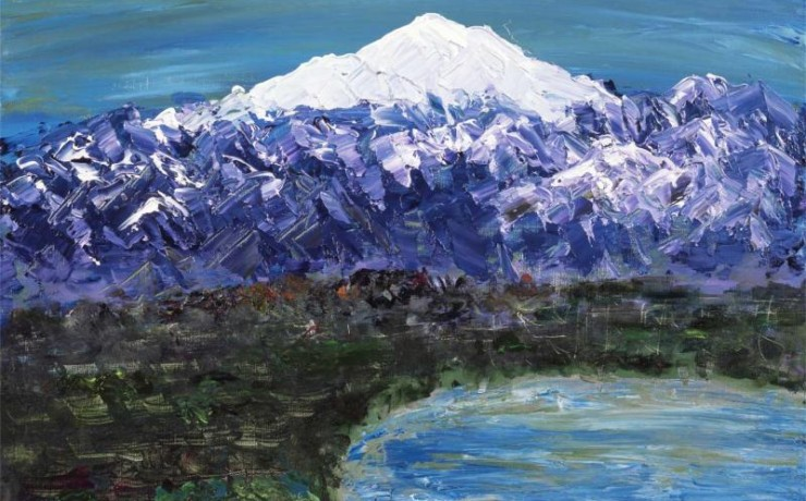 晴天でキラキラしている白山と柴山潟