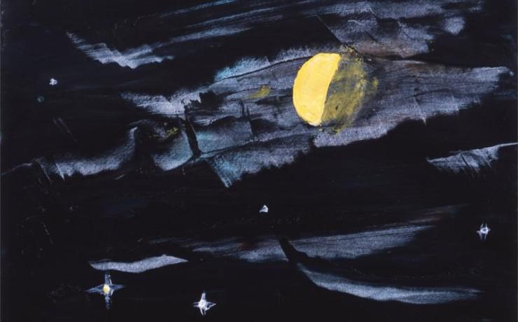 雄島雌島の夕月