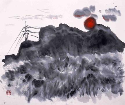 妙義山の夕陽