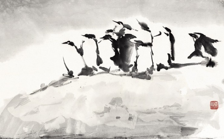 氷山の上のペンギン一家