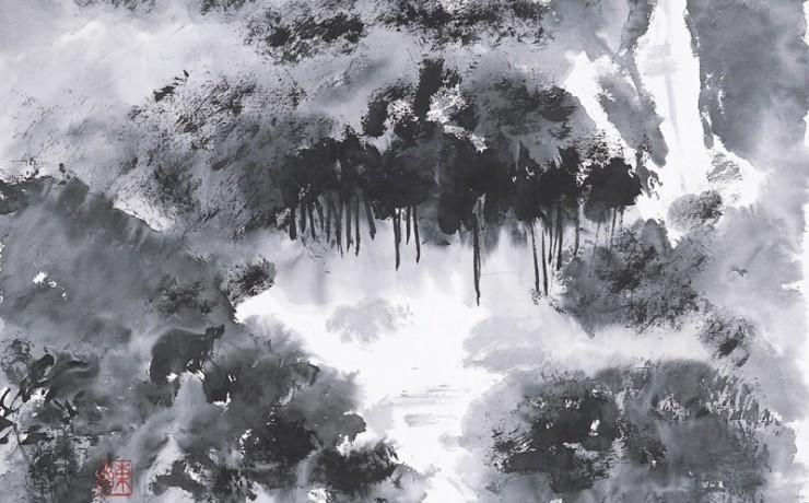 霧で見えなくなった竜王スキー場