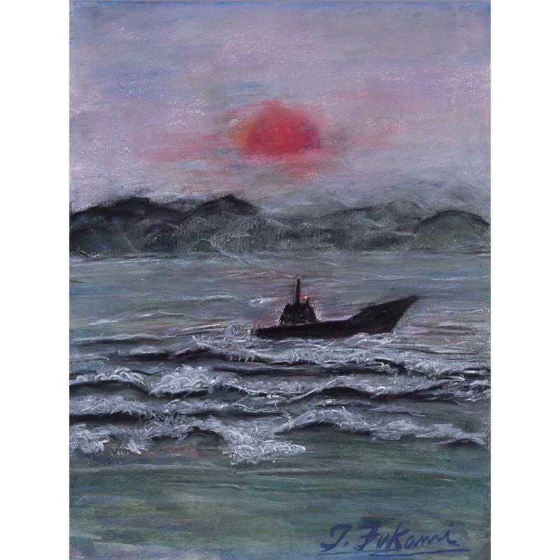 朝一番に渦潮を行く漁船
