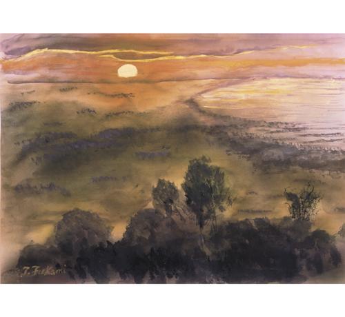 カンボジア・プノン・バケンの夕陽
