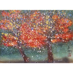 錦の雨が降る長門・住吉神社の紅葉