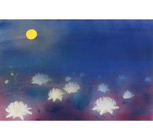 月明かりで目覚めた睡蓮たち