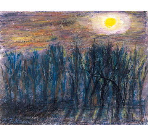 月煌々と清かなる北京の冬木立