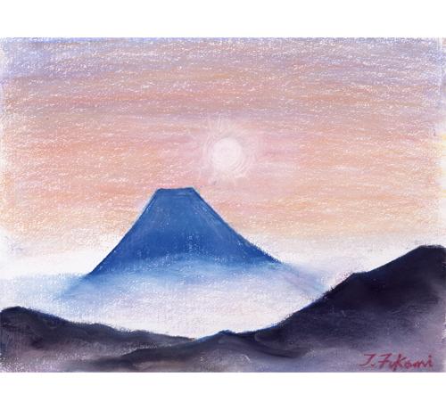 厚木から見たアトム誕生日の富士