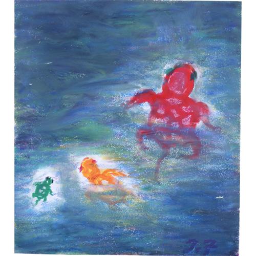 緑亀の池に侵入してきた赤亀とオレンジ亀
