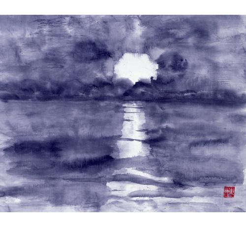 猪苗代湖に沈む太陽