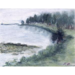 霧雨の琵琶湖湖畔
