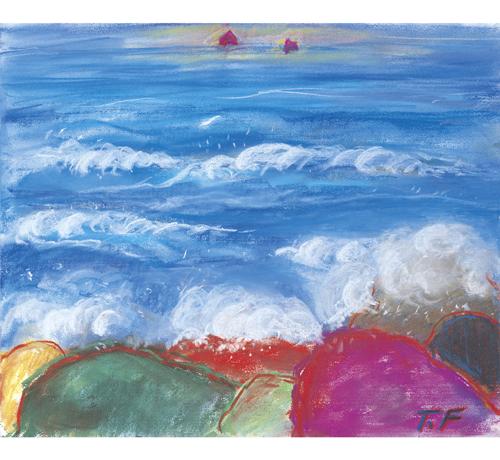五色の岩壁から見る雌島雄島