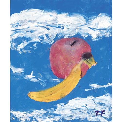 空に浮かぶリンゴとバナナ