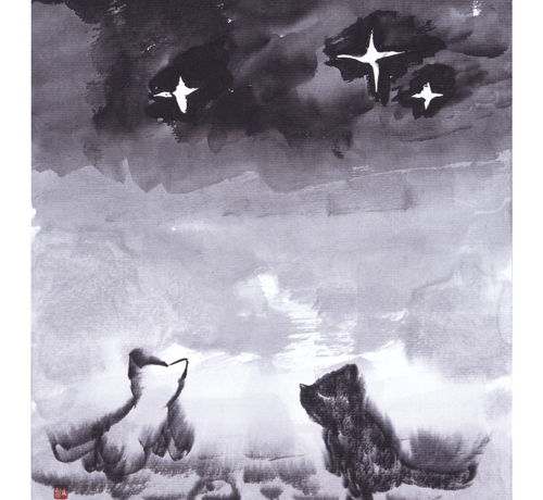 星を見つめる猫の夫婦