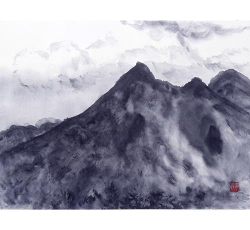 雲を割って現れた磐梯山